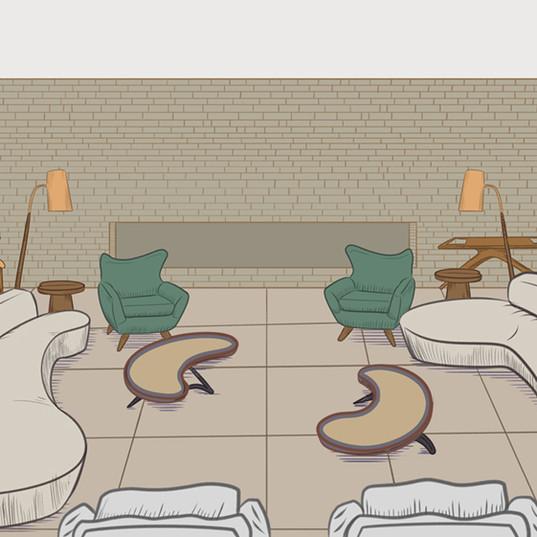 Cenário sala de estar/jantar 2