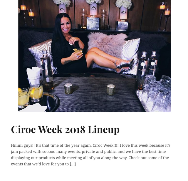 Key Influencer PR Release: Ciroc Week 2018