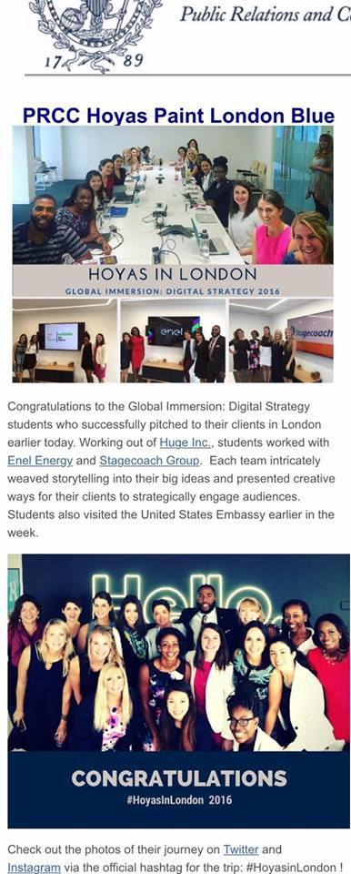 International Client Work in London via Georgetown
