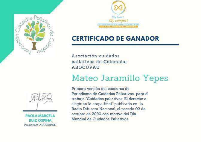 Mateo Jaramillo, ganador del Premio que entrega la Asociación de Cuidados Paliativos de Colombia