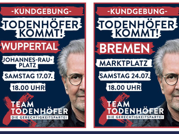 Team Todenhöfer NRW lädt auf den Johannes-Rau-Platz in Wuppertal ein