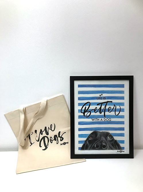 Quadro decorativo + sacolinha bag ecológica