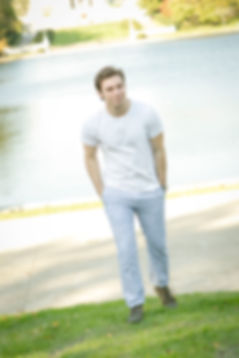 Actor Michael Massaad in 2017 walking by a pond in Cleveland Ohio