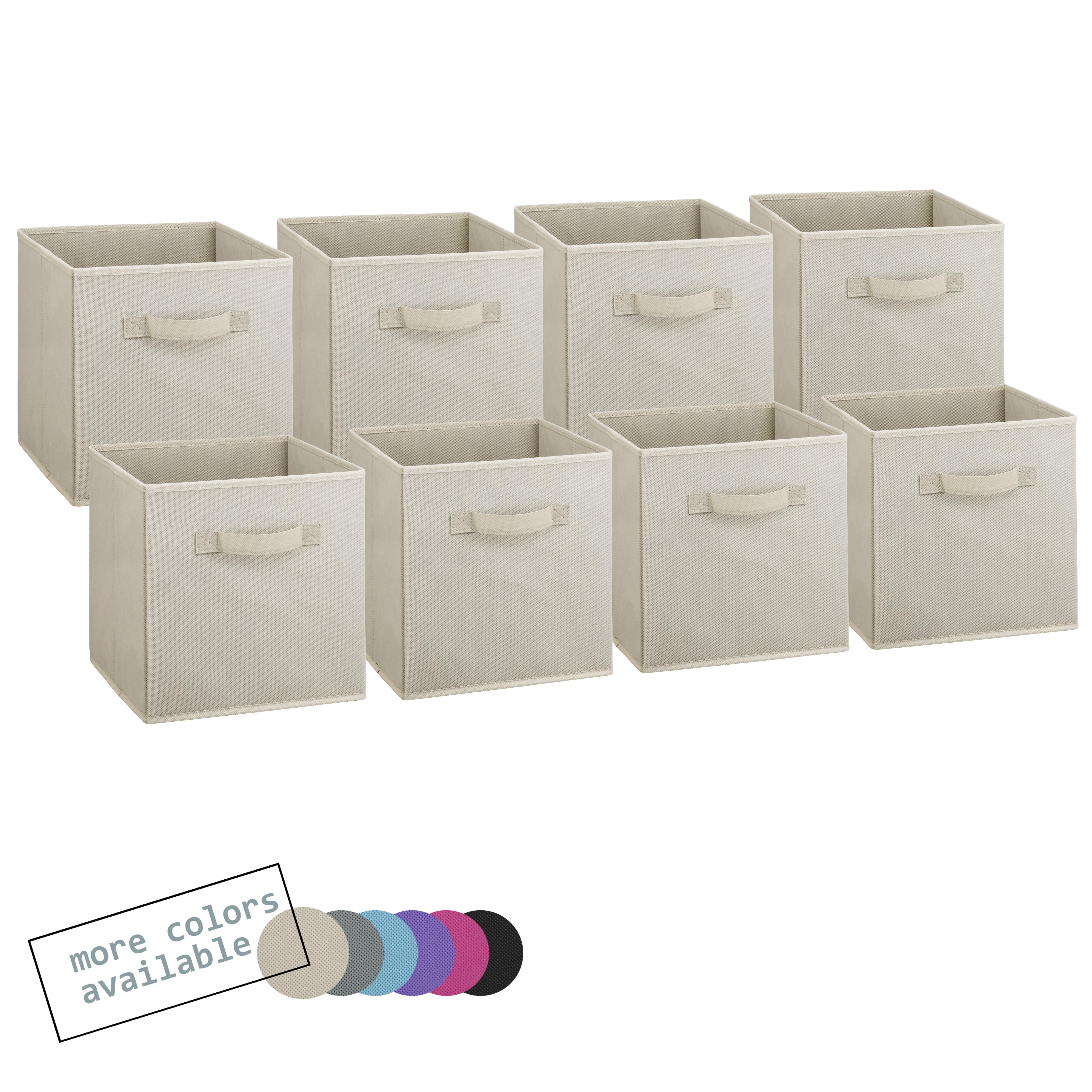 Foldable fabric storage cubes beige