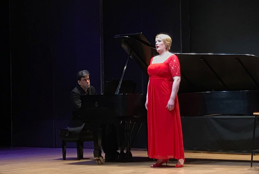 Amy Shoremount-Obra and Christopher Cooley perform at the Bruno Walter Auditorium, Lincoln Center.