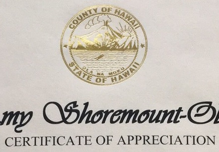Ms. Shoremount-Obra honored by Big Island of Hawaii with Official Certificate of Appreciation