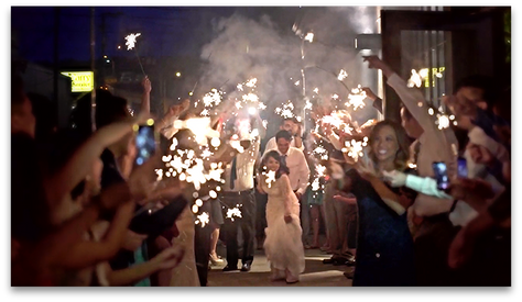 What you need to know about filming a sparkler send off at your clients' wedding.