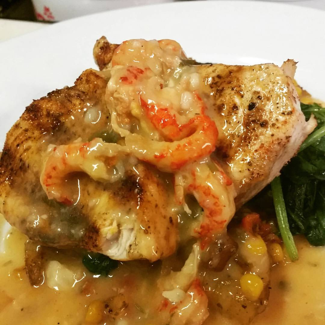 sear fish with crawfishsauce