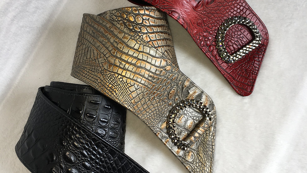 Embossed Gator Belts with Swarovski Trim