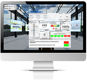 Shows working within a Virtual World Rehearsal online platform dashboard for accelerated learning in business