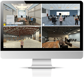Shows working within a Virtual World Rehearsal online platform for accelerated learning in business