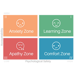 The 4 zones high-low Psychological Safety and Accountability.  When you have high Psychological Safety and Accountability then you have a high learning zone