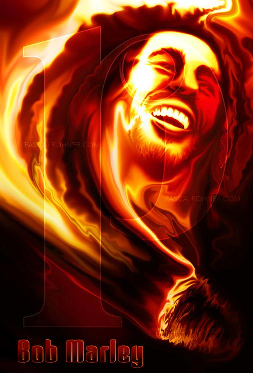 Bob Marley on fire