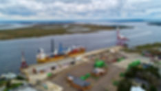 Aerial photo of large crane delivery at the port of fernandina