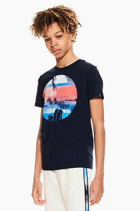 GARCIA T-shirt bleu foncé avec impression photo