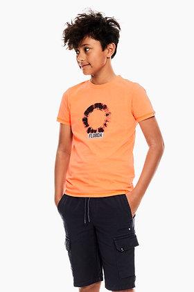 GARCIA T-shirt orange à imprimé C13401