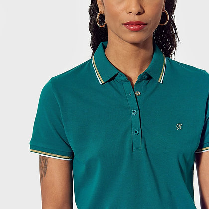 KAPORAL Polo ajusté bleu vert Polax
