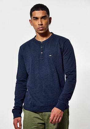 T-shirt régular bleu chiné TUALEE  avec col tunisien