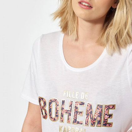 """KAPORAL T-shirt régular blanc imprimé """"FILLE DE BOHEME"""" Pure"""