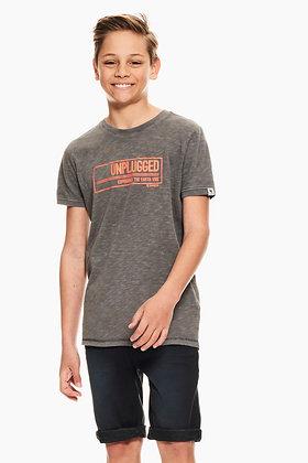 GARCIA T-shirt gris à imprimé texte