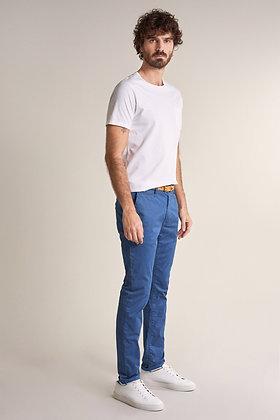 SALSA Pantalon chino slim à microprint bleu 125091