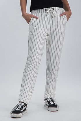 GARCIA Pantalon blanc à rayures