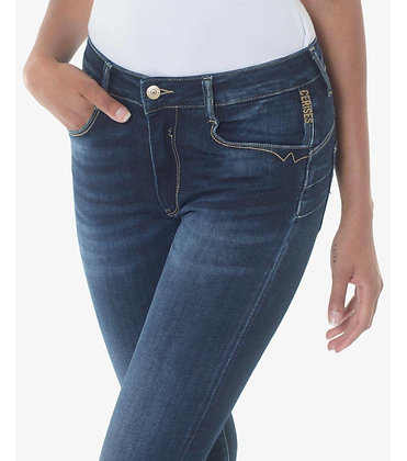 LE TEMPS DES CERISES Jeans Pulp slim 7/8ème taille haute bleu