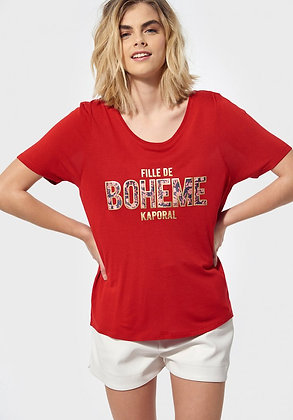 """KAPORAL T-shirt régular rouge imprimé """"FILLE DE BOHEME"""" pure"""