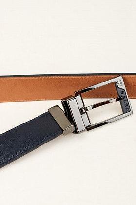 SALSA ceinture cuir reversible marine/camel