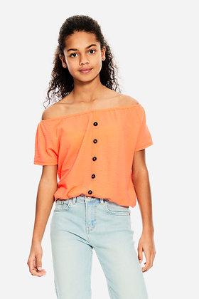 GARCIA T-shirt à épaules dénudées orange