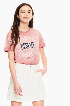 GARCIA T-shirt rose à imprimé texte