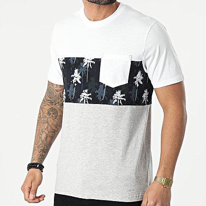 TIFFOSI Tee Shirt Poche Floral Matt Blanc Gris Chiné
