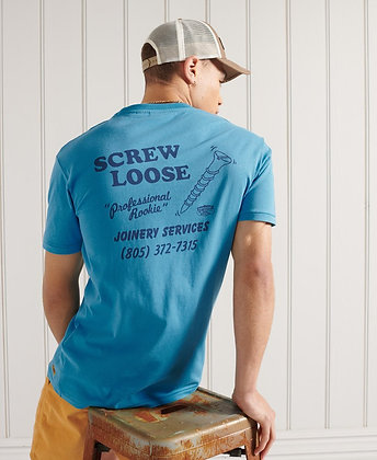SUPERDRY T-Shirt Droit Workwear Bleu