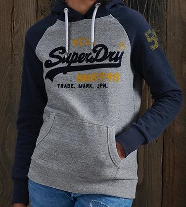 SUPERDRY Sweat À Capuche Marine et Gris Vintage Logo Varsity Garçon