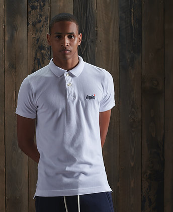 SUPERDRY Polo Organic Cotton Classic Pique Blanc
