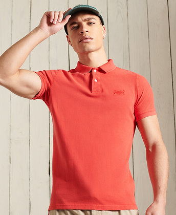SUPERDRY Polo Organic Cotton Vintage Destroyed Apple red