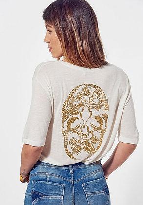 KAPORAL T-shirt loose blanc  imprimé tête de mort Paola