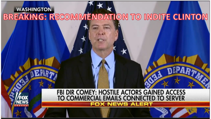 FBI: INDITE HILLARY. JUSTICE ACCEPTS RECOMMENDATION