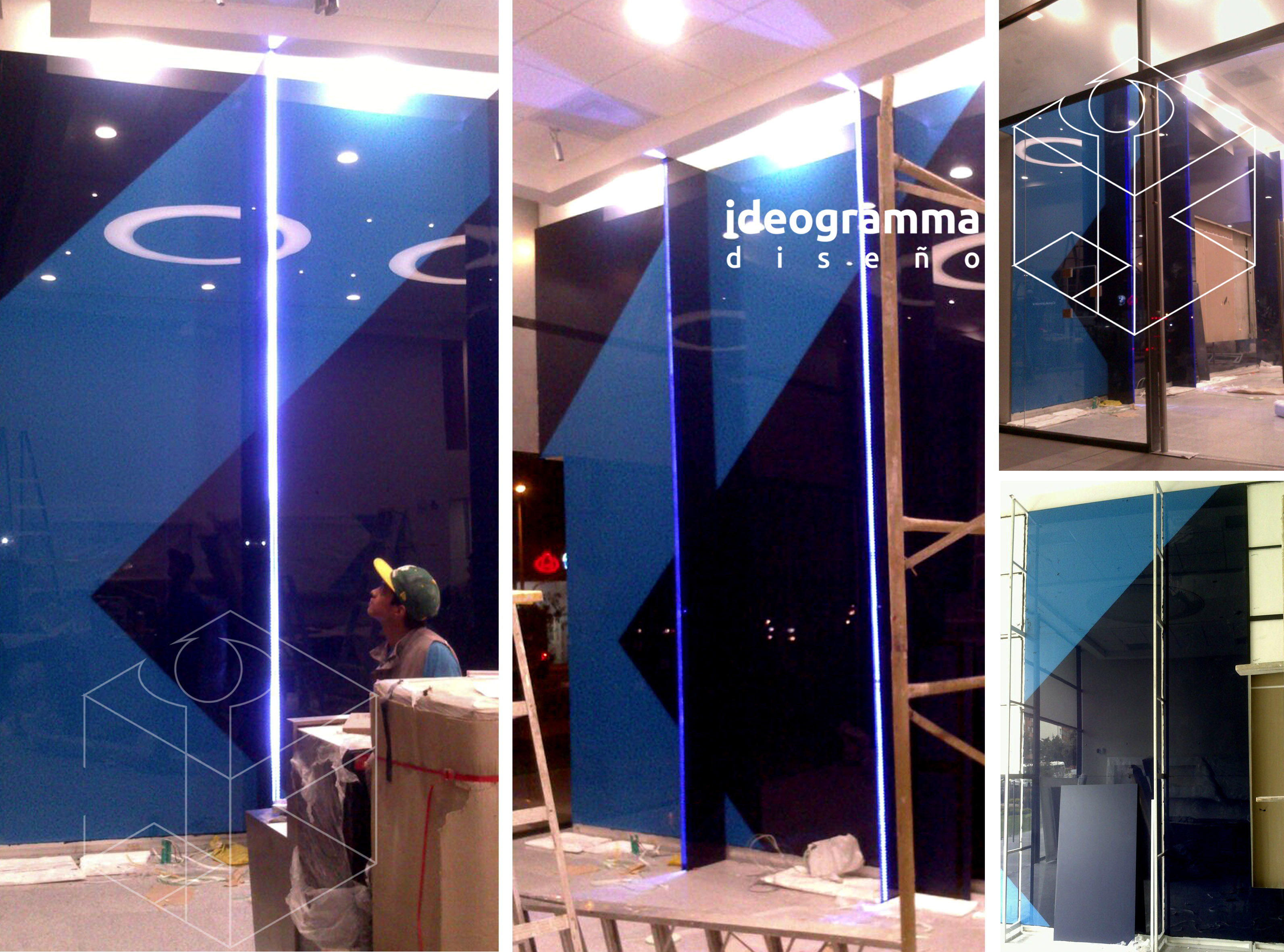 Mural corporativo en vidrio