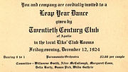 Leap Year Dance December 12, 1924