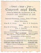 Grand Leap Year Concert and Ball December 27, 1892