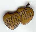 SPEAK DEAR THIS IS LEAP YEAR tarnished pin.