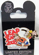 Disney Pin 2008 with Mickey and Goofy playing Leap Frog.