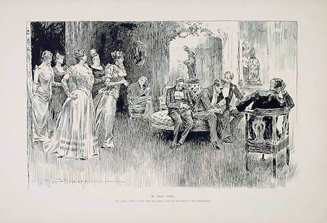 IN LEAP YEAR The ladies, after a little wine and tobacco, join the gentlemen in the drawing room.
