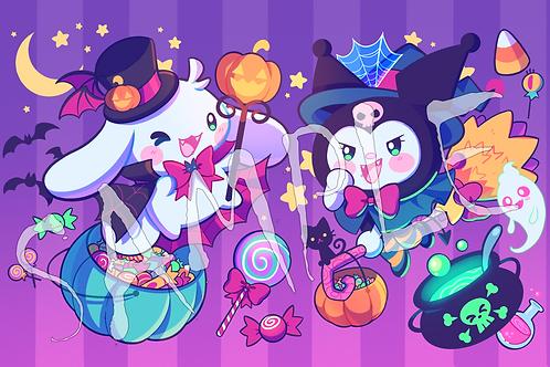 Kuromi and Cinnamoroll Halloween Print