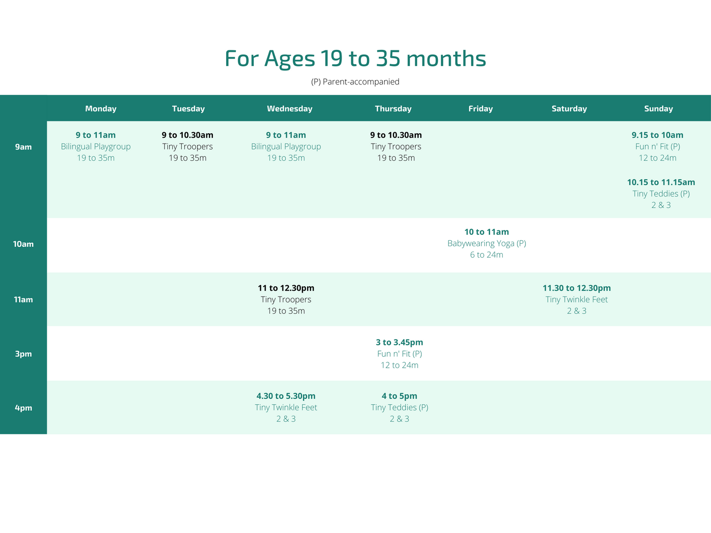 For ages 19 to 35 months