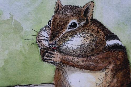 Chipmunk Watercolor Print