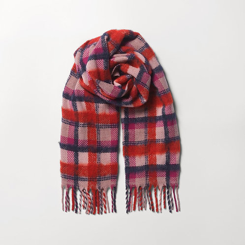 Check Sillian Scarf Red Mix - by Becksondergaard