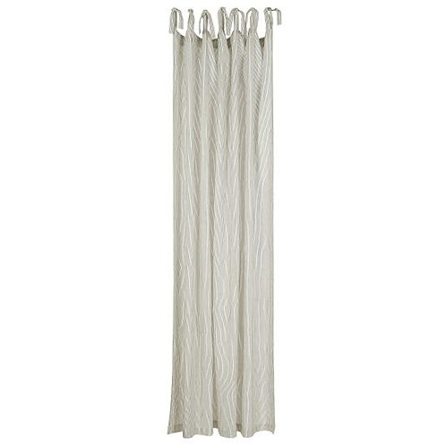 Cotton Tie Top Curtain Panel Black Stripe