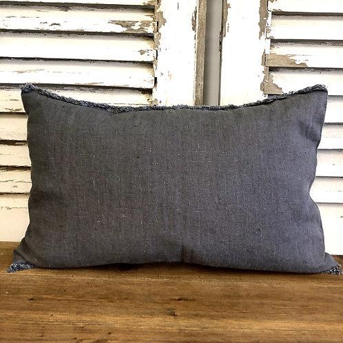 Fringed Rectangular Linen Cushion Charcoal
